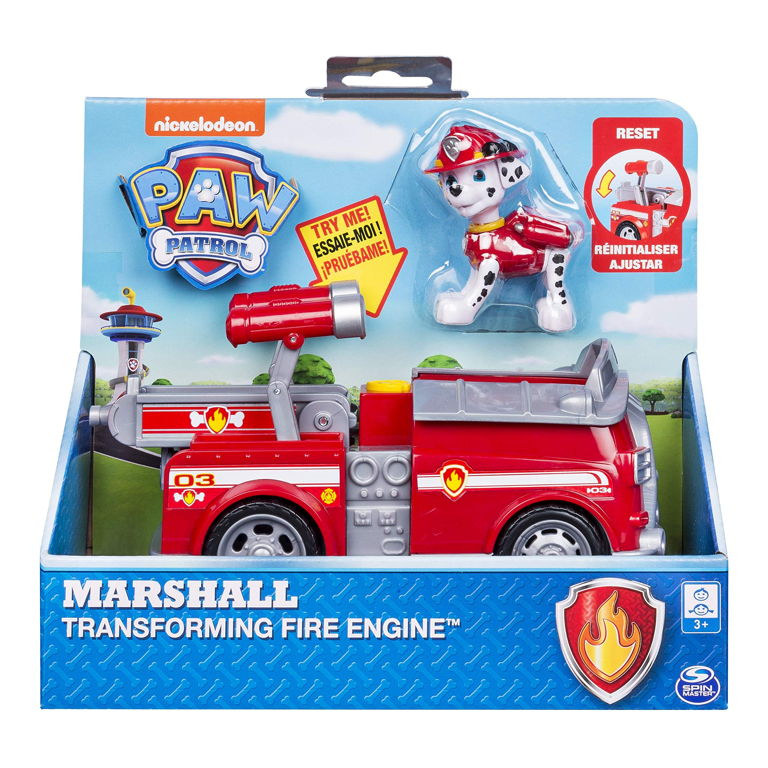 Paw Patrol, Marshall's Transforming Fire Truck with Pop-Out Water Cannons, for Ages 3 & Up
