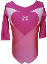 Talent Tale Little Girls Tonal Pink Color Block Heart with Rhinestone Bow 3/4 Sleeve Leotard