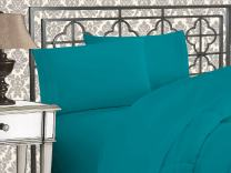 Elegant Comfort Luxurious 1500 Thread Count Egyptian Three Line Embroidered Softest Premium Hotel Quality 4-Piece Bed Sheet Set, Queen, Turquoise