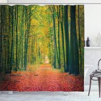 """Ambesonne Forest Shower Curtain, Pathway in Autumn Dramatic Road to Infinity Toned Warm Fall Colors Rural Scenery Print, Cloth Fabric Bathroom Decor Set with Hooks, 70"""" Long, Green"""