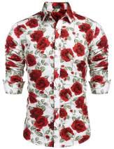 COOFANDY Men's Rose Paisley Floral Print Shirt Luxury Casual Button Down Shirt