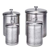 Old Dutch 4 Pc Geometric, 4, 3, 2, Qt Canister Set, 11.5Qt, Stainless Steel, Brushed Nickel