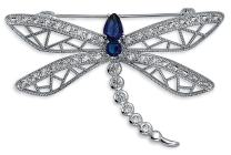 Bling Jewelry Blue Cubic Zirconia CZ Statement Butterfly Dragonfly Filigree Brooch Pin for Women Silver Plated
