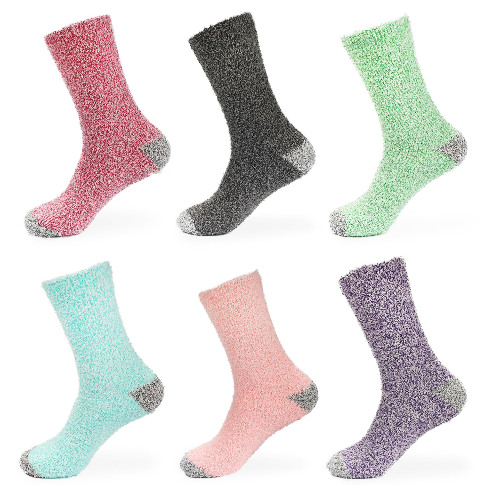 BambooMN Women's Soft Fuzzy Warm Cozy Striped Solid Socks - 6 Pair Assorted Value Packs