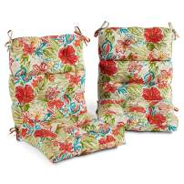 South Pine Porch AM6809S2-BREEZE Breeze Floral Outdoor High Back Chair Cushion, Set of 2