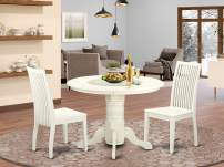 SHIP3-WHI-W 3 Piece Shelton Set With One Round Dinette Table And Two Dinette Chairs With Wood Seat In A Beautiful Linen White Finish.