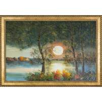"ArtistBe Moon by Justyna Kopania Framed Hand Painted Oil Reproduction, 40.75"" x 28.75"""