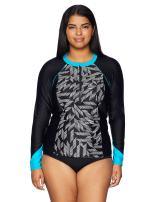 Amazon Brand - Coastal Blue Women's Plus Size Rashguard: Short and Long Sleeve