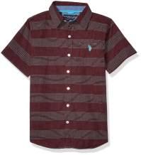 U.S. Polo Assn. Boys' Short Sleeve Dotted Striped Woven Shirt