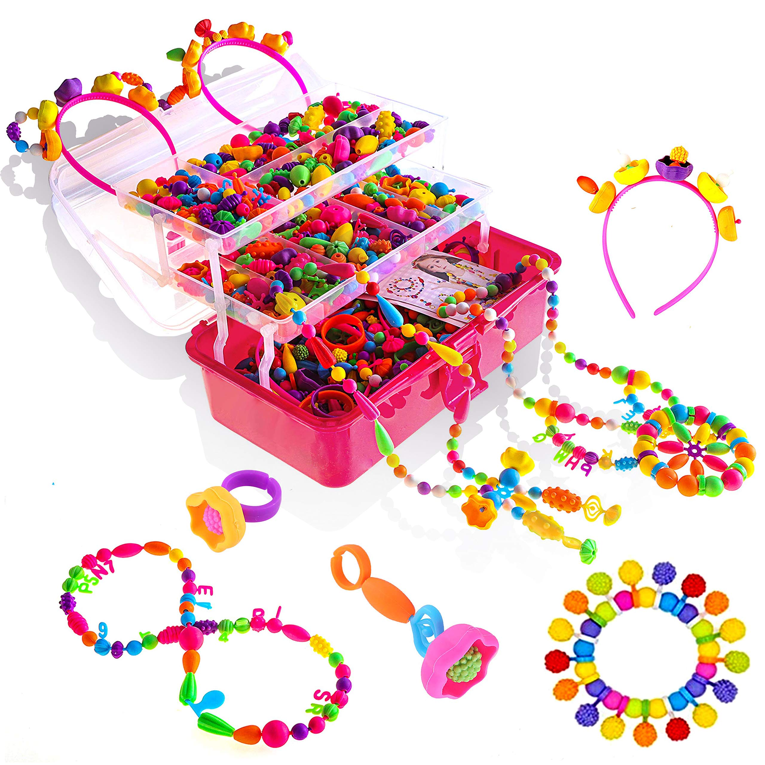Toys Gift for 3,4,5,6,7,8,9 Year old girls Pop Beads Jewelry making kit,Snap Beads to Make Hairband Necklace Bracelet and Art & Craft Creativity DIY Educational Toys Gift for girl age 3-9 (1000+ pcs)
