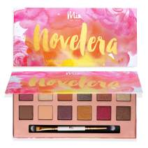 Mia del Mar 'Novelera' Eyeshadow Palette + Dual Ended Brush -12 Sexy Tones: Shimmery & Matte Hues. Vegan And Clean Skin Care.