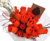 The Original Wooden Rose Halloween All Orange Flower Bouquet Closed Bud (2 Dozen)