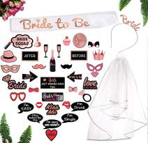 Rose Gold Bachelorette Party Decorations Pack. 40-Pc Pink Bridal Shower Supplies Includes: Bridal Shower Photo Booth Props Bride-to-Be Sash, Tiara, Veil by Scapa Pro