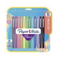 Paper Mate 1928605 Flair Felt Tip Pens, Medium Point (0.7mm), Tropical & Classic Colors, 12 Count