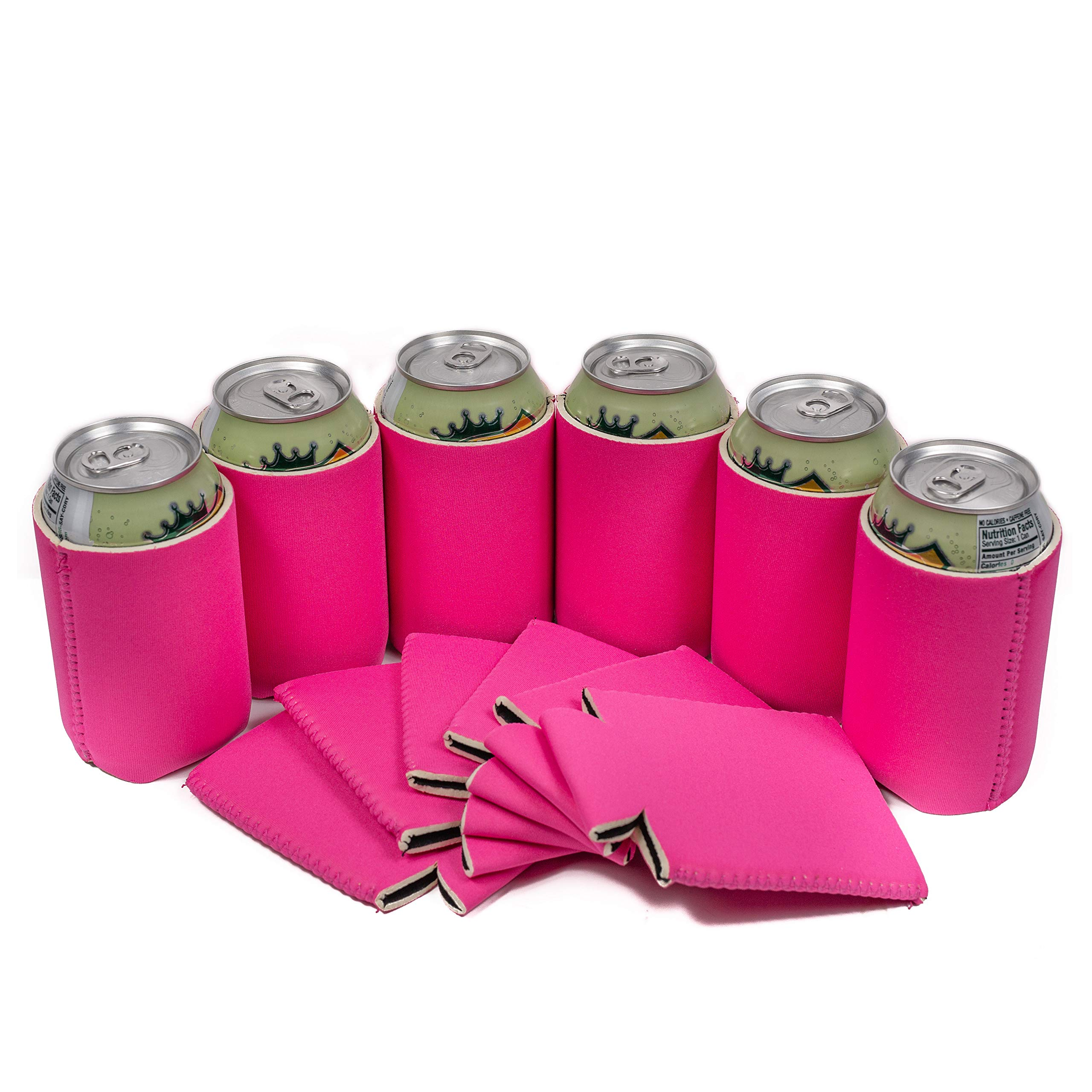 QualityPerfection 6 Blank Can Cooler Sleeve - 12 oz Beer Neoprene Collapsible Coolie Economy Bulk Insulation with Stitches - Perfect 4 Events,Custom DIY Projects Variety of Colors (6, Hot Pink)