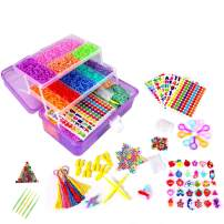 15000+ Colorful Rubber Loom Bands, Creative Mega Rainbow Rubber Bands Refill Kit Jewelry Necklace Bracelet Making Kit Clips Hooks Tool for Girls Art DIY Craft