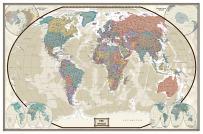 Swiftmaps World Executive Wall Map Poster Mural (48x70 Laminated)