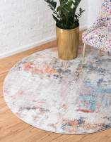 Unique Loom Rainbow Collection Modern Abstract Watercolor Multi Round Rug (3' 3 x 3' 3)