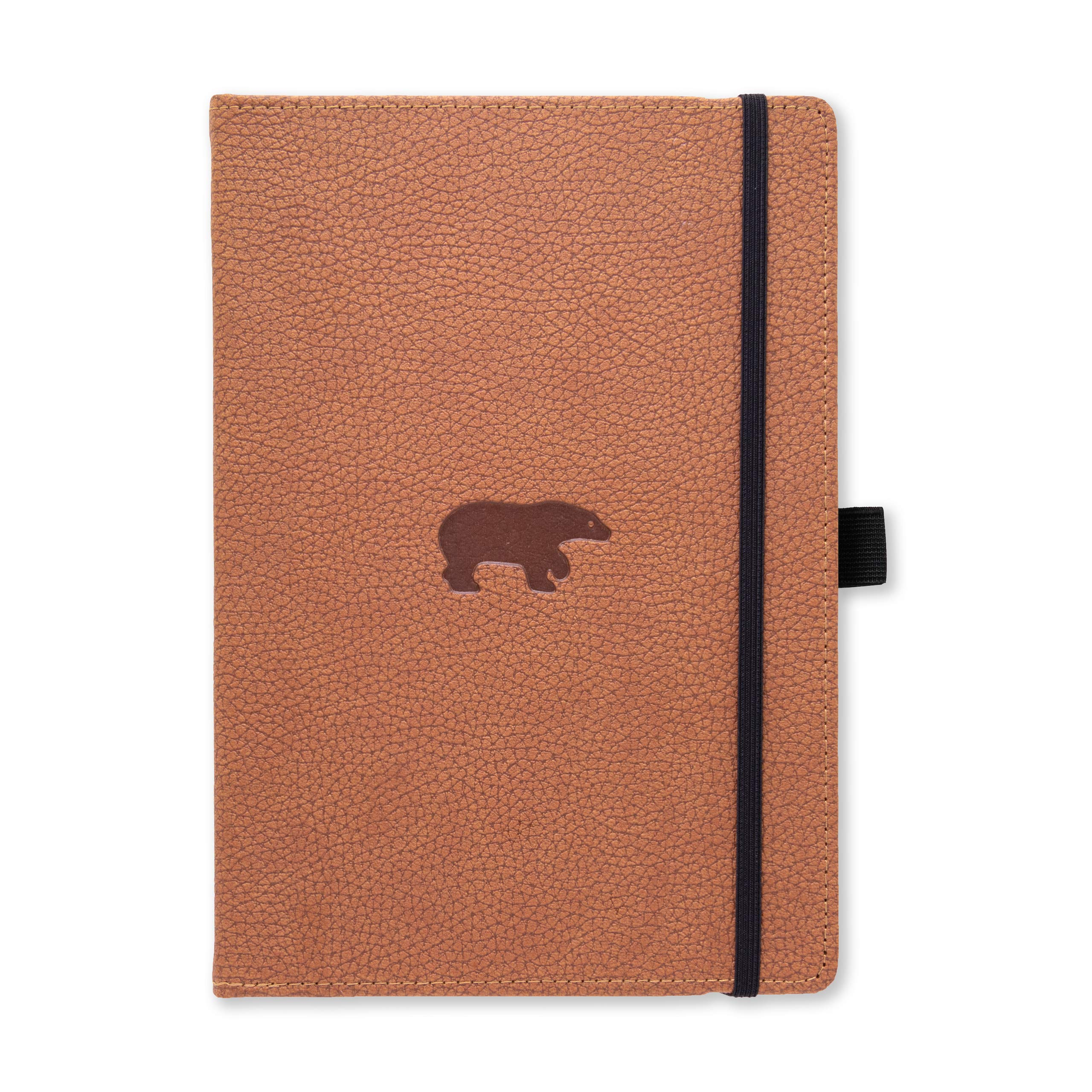 Dingbats Wildlife Dotted Hardcover Notebook - PU Leather, Perforated 100gsm Ink-Proof Paper, Pocket, Elastic Closure, Pen Holder, Bookmark (Brown Bear, Medium A5+ (6.3 x 8.5))