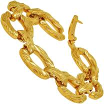 LIFETIME JEWELRY Grooved O-Link Bracelet for Men and Women 24k Real Gold Plated