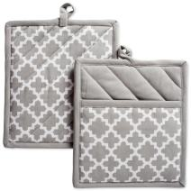 """DII Cotton Lattice Pot Holders, 9 x 8"""" Set of 2, Machine Washable and Heat Resistant Hot Pad for Everyday Kitchen Cooking & Baking-Gray"""