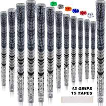 SAPLIZE Golf Grips, Standard/Midsize, 13 Grips with 15 Free Tapes or 13 Grips with Full Regripping Kit, MultiCompound Cord Golf Club Grips, 6 Colors Optional