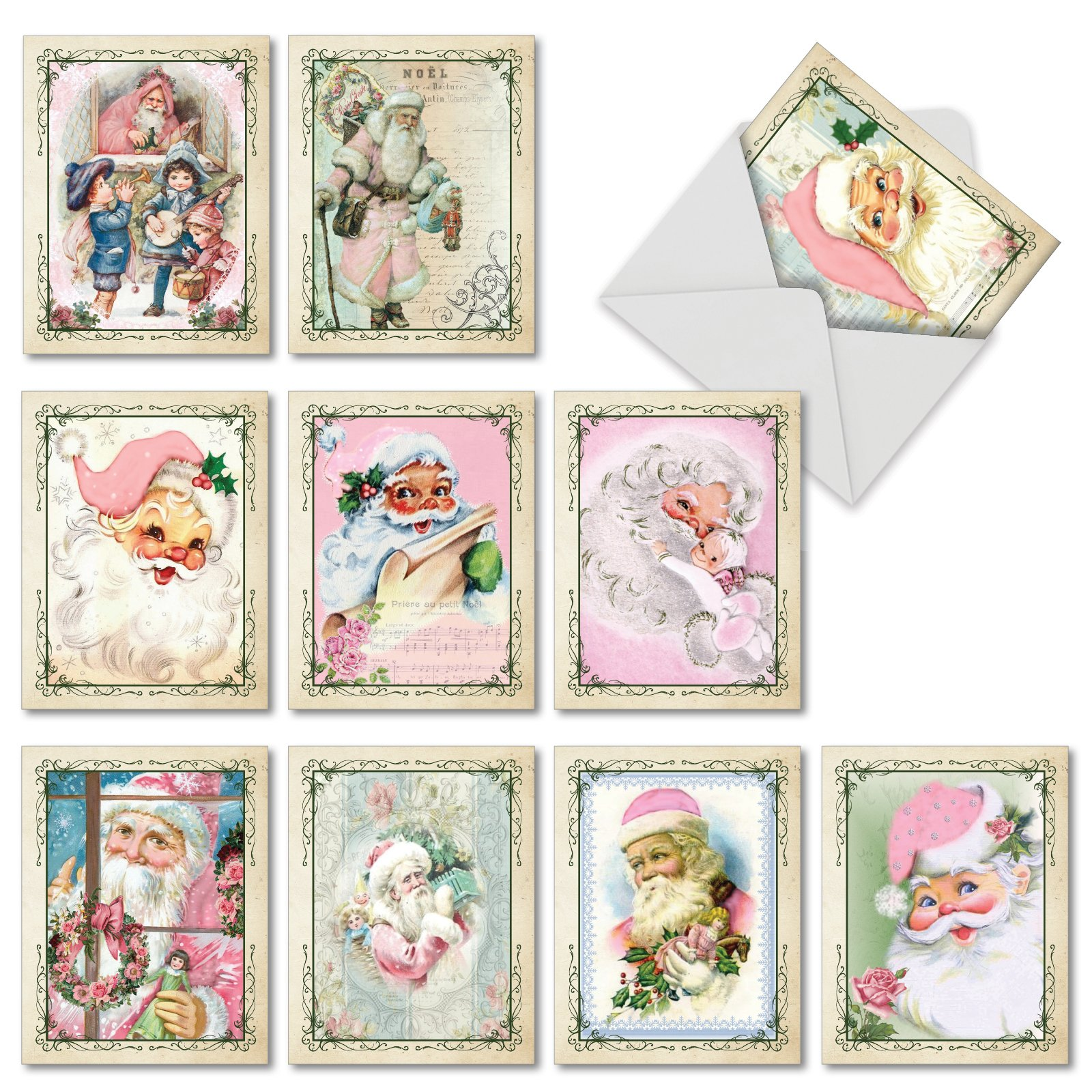 10 Assorted 'Pink Kringle' Christmas Cards with Envelopes 4 x 5.12 inch, Boxed Season's Greetings Cards with Vintage Santas in Pink Suits, Festive Stationery for Kids, Adults, Family M6695XSG
