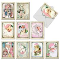 10 Assorted 'Pink Kringle' Christmas Cards with Envelopes 4 x 5.12 inch, Blank Holiday Greeting Cards with Vintage Santas in Pink Suits, Festive Stationery for Christmas, New Year, Gifts M6695XSB