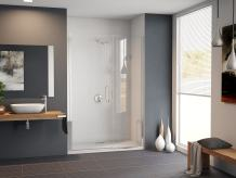 """Coastal Shower Doors HC39IL.70B-C Illusion Series Frameless Shower Door and Inline Panel with C-Pull Handle in Clear Glass, 39"""" x 70"""", Chrome"""