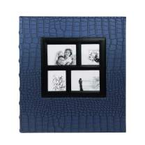 RECUTMS Photo Album 4x6 400 Pockets Black Pages Large Capacity Leather Cover Wedding Family Anniversary Photo Albums (Blue, 400 Pocket)