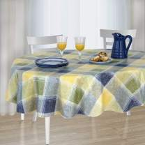 """Harmony Plaid Checkered Print Stain Resistant and Spill Proof with Flannel Backing Vinyl Tablecloth for Spring/Summer/Party/Picnic, Blue, 60""""x84"""" Oval"""
