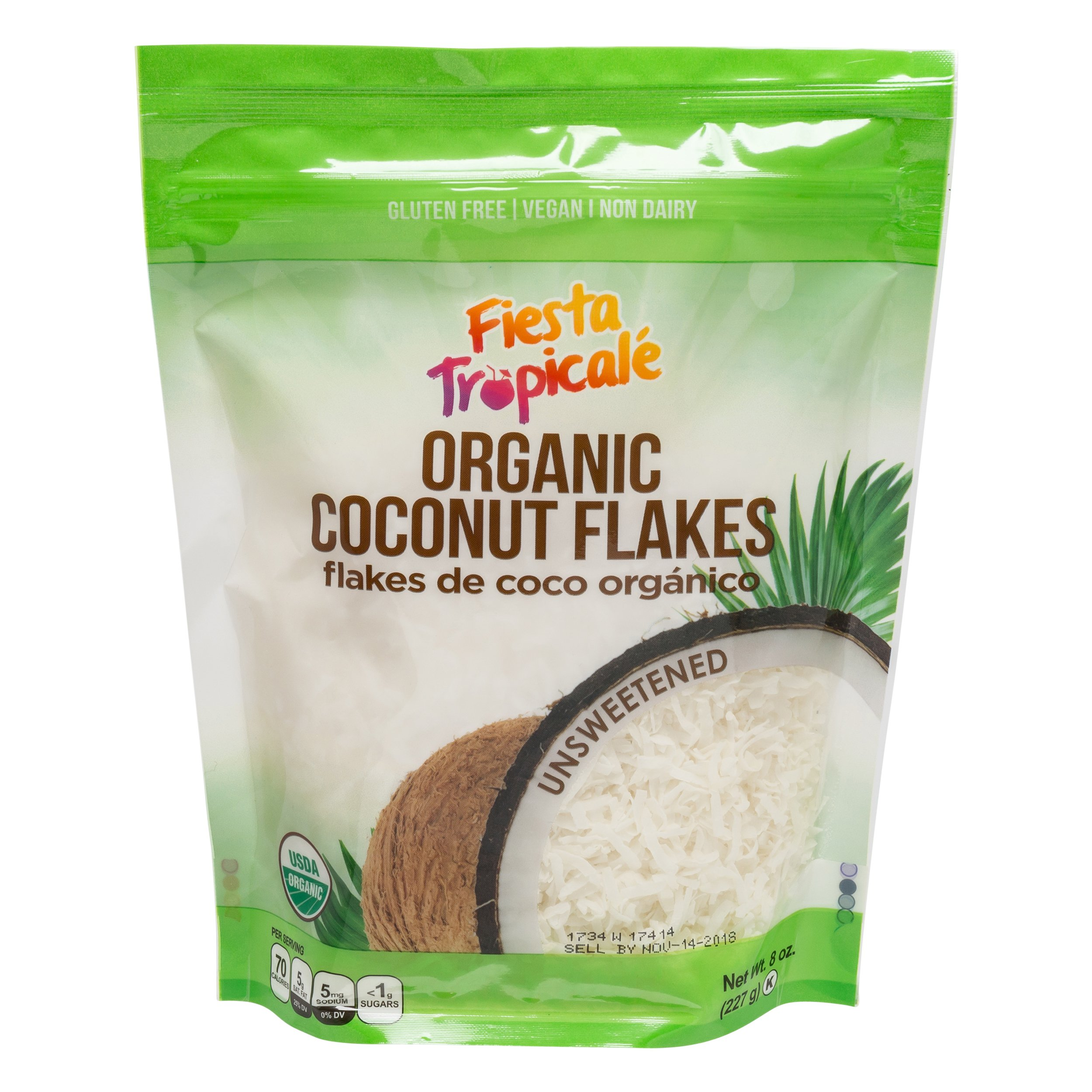 Shredded Coconut Flakes Organic Unsweetened 8 Ounce Bag (Pack of 3) Desiccated Gluten-Free Sugar-Free, Great for Vegan Paleo Keto Recipes, Smoothies Oatmeal Fruits by Fiesta Tropicale