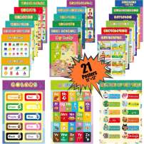 Junejour 21pcs Educational Preschool Posters Classroom Decorations Alphabet Shapes Colors Kindergarten Elementary Learning Charts with Glue Point Dot for Nursery Homeschool Kindergarten Classroom