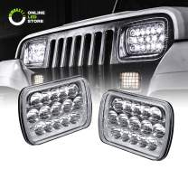 7x6 5x7 LED Headlights H6054 H5054 [45W] [H4 Plug & Play] [Low/High Beam: 6/15 LEDs] - H6054LL 69822 6052 6053 Head Light for Jeep Wrangler YJ Cherokee XJ