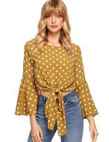 MakeMeChic Women's Elegant Long Bell Sleeve Floral Print Tie Front Casual Blouse Crop Tops