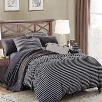 PURE ERA Jersey Knit Duvet Cover Set T-Shirt Cotton Super Soft Comfy Breathable Striped Home Bedding Sets 1 Comforter Cover with 1 Pillow Sham Charcoal Dark Grey Twin