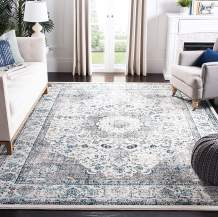 Safavieh Evoke Collection EVK220D Shabby Chic Oriental Medallion Area Rug, 9' x 9' Square, Ivory / Grey