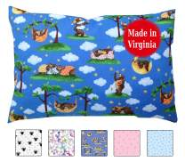 Toddler Pillowcase (14x19) 100% Cotton Percale - Envelope Style - Handmade in USA by a Small Family Company for Over 12 Years (Bedtime Bears)