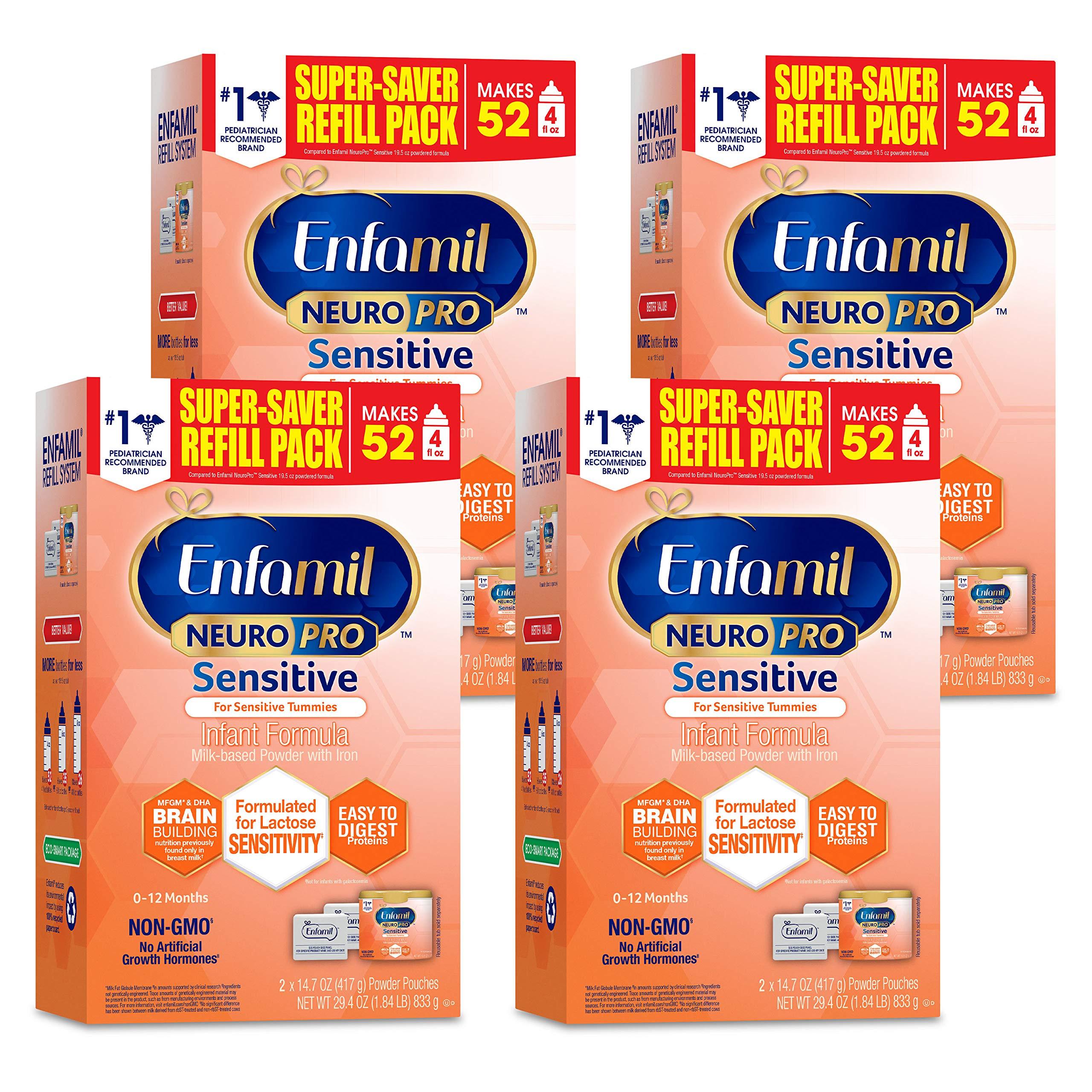 Enfamil NeuroPro Sensitive Baby Formula Gentle Milk Powder Refill, 29.4 Ounce (Pack of 4) - Omega 3 DHA, Probiotics, Immune Support
