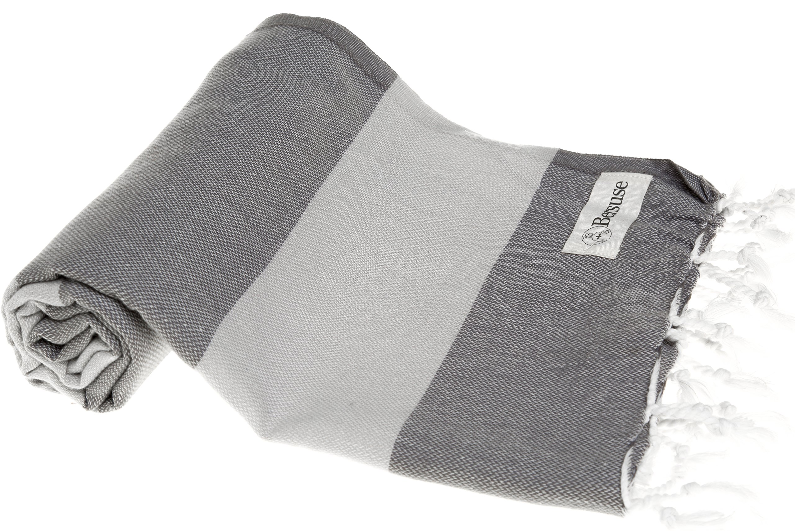 Bersuse 100% Cotton Cayman Turkish Towel-37X70 Inches, Anthracite/Silver