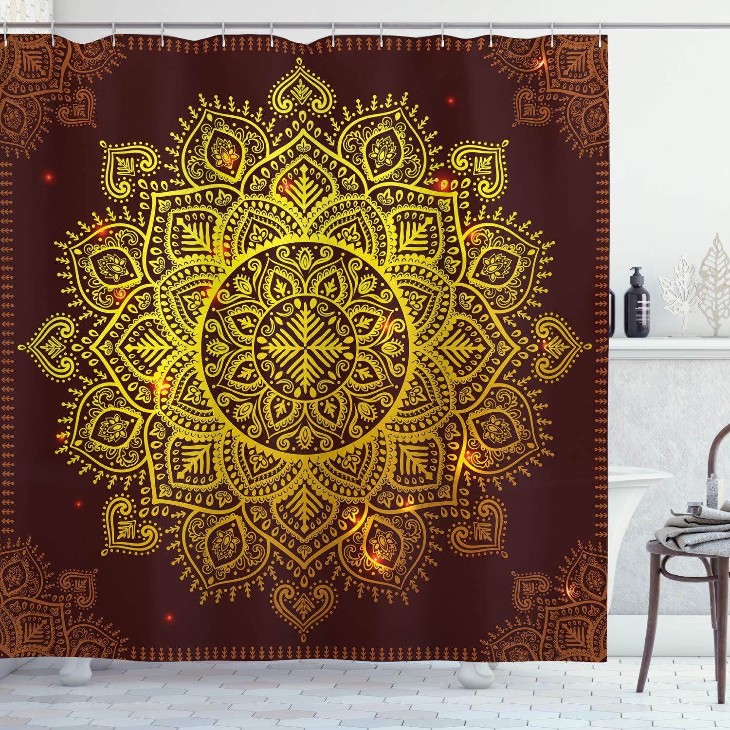 """Ambesonne Mandala Shower Curtain, Ornamental Snowflake Floral Traditional Oriental Graphic Artwork, Cloth Fabric Bathroom Decor Set with Hooks, 75"""" Long, Yellow Brown"""