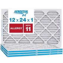 """Aerostar Allergen and Pet Dander 12x24x1 MERV 11 Pleated Air Filter Made in The USA Actual Size 11 3/4""""x21 3/4""""x3/4"""" 4 Pack"""