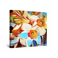STARTONIGHT Canvas Wall Art Abstract Painting - Daffodils, Spring Flowers 32 x 32 inches