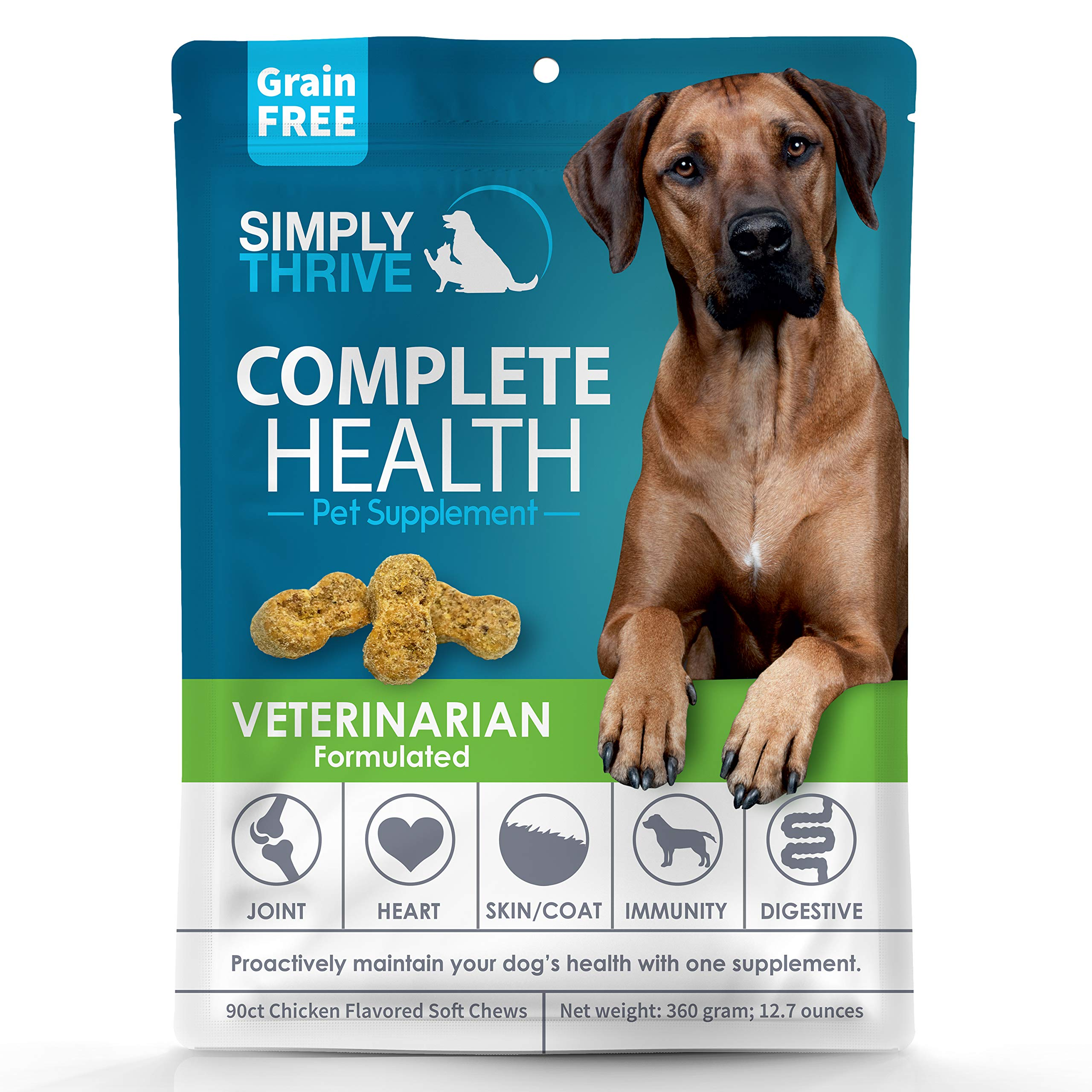 Complete Health Multivitamin Supplement for Dogs | 90 ct Soft Chew Treats | Glucosamine Helps with Mobility Hip Joint & Arthritis | Salmon Oil Aids Skin Coat and Heart Health | Includes Probiotics