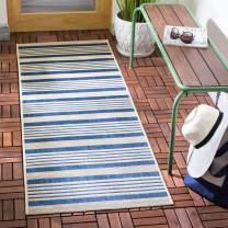"""Safavieh Courtyard Collection CY6062-268 Indoor/ Outdoor Runner, 2' 3"""" x 10', Navy/Beige"""