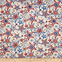 Fabri-Quilt Marblehead Valor Multi Star Beige Fabric By The Yard