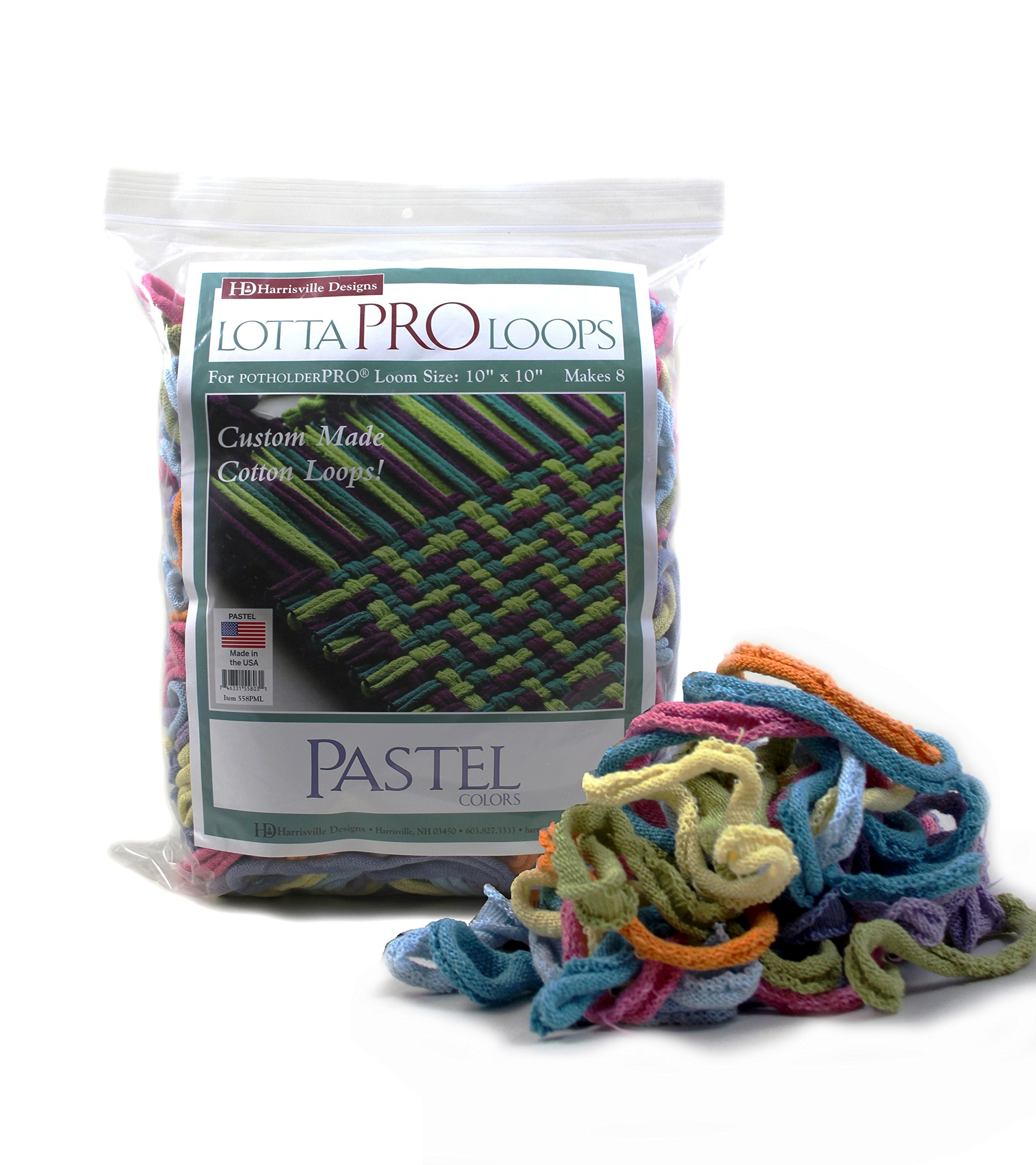 """Harrisville Designs Lotta Loops 10"""" Pro Size Pastel Cotton Loops Makes 8 Potholders, Weaving, Crafts For Kids and Adults-Assorted Colors"""