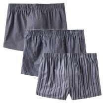 CYZ Men's 100% Cotton Premium Classic Woven Boxers 3 Packs
