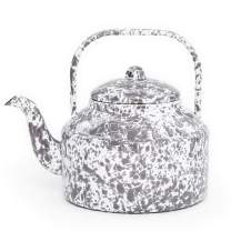 Enamelware Tea Kettle, 2.75 quart, Grey/White Splatter