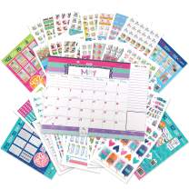 Reminder Binder 18-Month 2020-2021 Monthly Desk Calendar + Event Stickers Variety Set (Total of 1536 Stickers) with Tear-Off Lists, Scheduling Tools, Bill Pay Worksheet and More (Bundle of 2 Items)